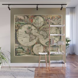 Old map of world hemispheres (enhanced) Wall Mural