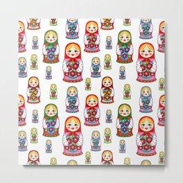 Russian nesting dolls pattern Metal Print