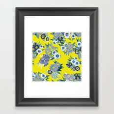 Floral pattern in Neon yellow Framed Art Print