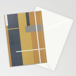 Midcentury Modern Modular Abstract Pattern Faded Cloth in Light and Dark Mustard, Navy Blue, Gray, and White Stationery Cards