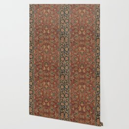 Flowery Boho Rug I // 17th Century Distressed Colorful Red Navy Blue Burlap Tan Ornate Accent Patter Wallpaper