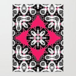 Geometric Tribal Hot Pink & Black Poster