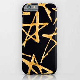 Big Gold Hand-Painted Stars on Black Silk iPhone Case
