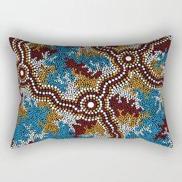 Authentic Aboriginal Art - Wetland Dreaming Rectangular Pillow