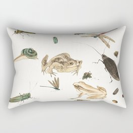 Insects, frogs and a snail Rectangular Pillow