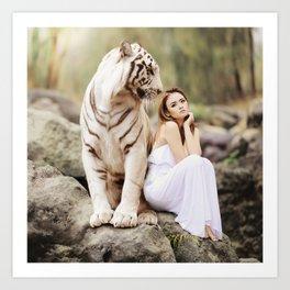 White Tiger from Bengal   Tigre blanc du Bengale Art Print
