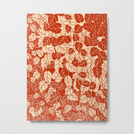 Japanese Leaf Print, Mandarin Orange Metal Print