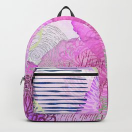 Abstract Watercolor Pink Silver Gold Glitter Floral Backpack