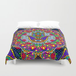 Hamsa Harmony Mandala Duvet Cover