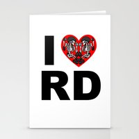 roller derby Stationery Cards featuring I heart roller derby by Andrew Mark Hunter