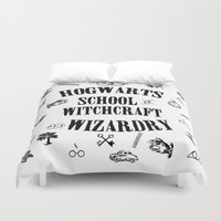 witchcraft Duvet Covers featuring Hogwarts School of Witchcraft and Wizardry by Pia Ham