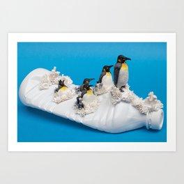 Ahoy! Penguins on Plastic Bottle Art Print