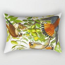 Sparrow Vintage Scientific Bird & Botanical Illustration Rectangular Pillow