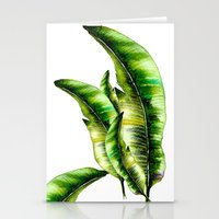 banana leaf Stationery Cards featuring Banana Leaf -watercolor  by craftberrybush