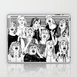 Wild girls. Black and white illustration. Laptop & iPad Skin