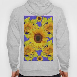 Golden Sunflower Pattern Floral Purple Shades Hoody