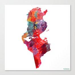 Tunisia map square Canvas Print