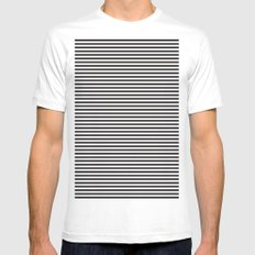 Stripes. MEDIUM Mens Fitted Tee White