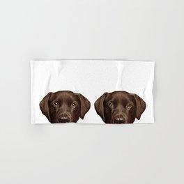 Labrador Chocolate original illustration by miart Hand & Bath Towel