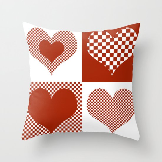 Christmas Hearts Pattern 3 Throw Pillow