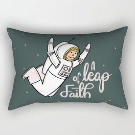 A leap of faith Rectangular Pillow