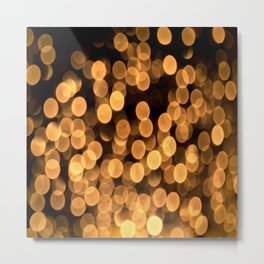 Golden Bokeh Light On A Black Background #decor #society6 Metal Print