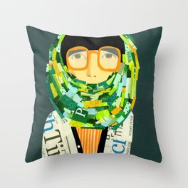 Portrait with glasses Throw Pillow