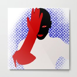 Black woman, red lips and glovers Metal Print