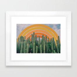 Cactus and Rainbow Framed Art Print