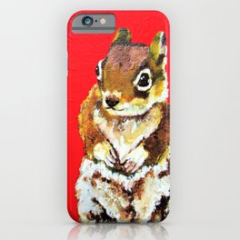 Chipmunk On a Burst of Red iPhone Case