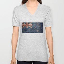New Zealand Flag - Grungy retro style Unisex V-Neck