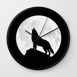 Howling Wolf - Moon Wall Clock