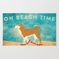 shiba inu Area & Throw Rugs featuring Beach Time Shiba Inu by Stephen Fowler by gemini studio art by Stephen Fowler