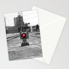 Train Track Signal Light Stationery Cards