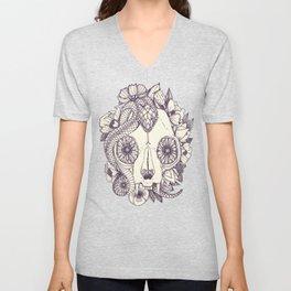 cat skull damask purple Unisex V-Neck