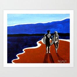 Blue and Tan Art Print