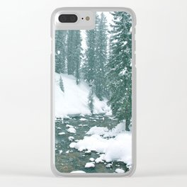 snow falling on a mountain river landscape Clear iPhone Case