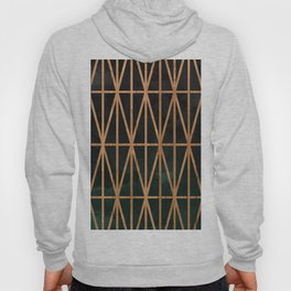 Wood geometric triangles on gray charcoal green forest ombre watercolor Hoody