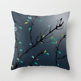 Nightingale singing in the night sky under the moonlight Throw Pillow