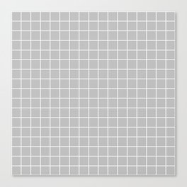 Gray (X11 gray) - grey color - White Lines Grid Pattern Canvas Print