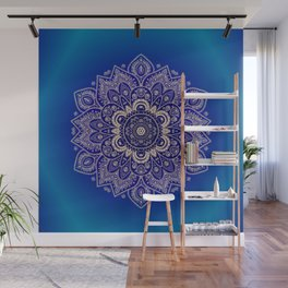 Temptation - Mandala 1 on Blue Backgound  Wall Mural