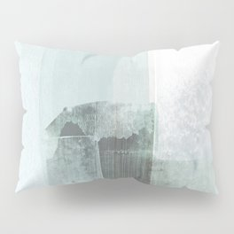 Pale Teal Blue Minimalist Abstract Painting Pillow Sham