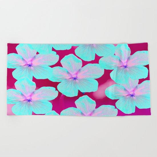 Retro Flowers  Beach Towel