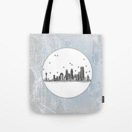 Seattle, Washington City Skyline Illustration Drawing Tote Bag
