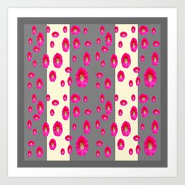 PINK-CERISE ASSORTED FLOATING HOLLYHOCK FLOWERS Art Print