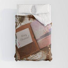 Merry Christmas Santa Monica Pier - Leather Travel Journal Photo Comforters