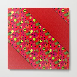 Retro . Colorful red pattern in multi-colored polka dots . Metal Print