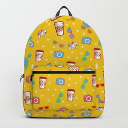 Coffee cup hipster pattern, yellow polka dot cool sunglasses pattern Backpack