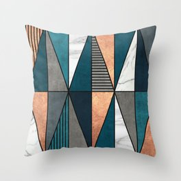Copper, Marble and Concrete Triangles with Blue Throw Pillow