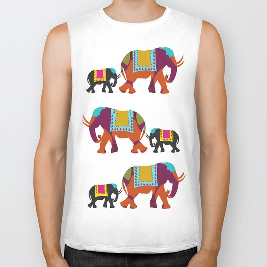 Elephants on the Streets of India Biker Tank